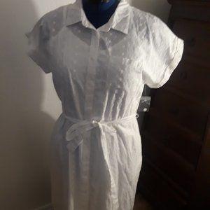 White Eyelet Shirtwaist Dress